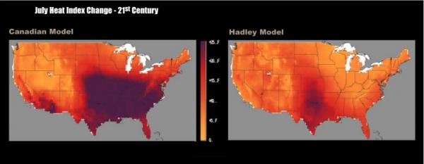 July Heat Index Change - 21st Century