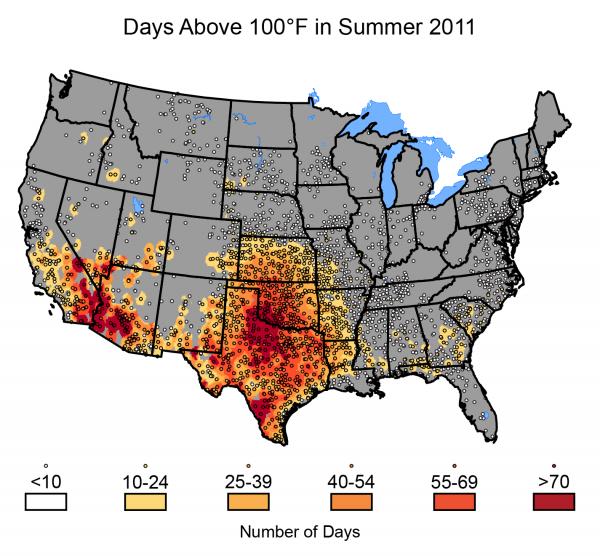Days Above 100ºF in Summer 2011