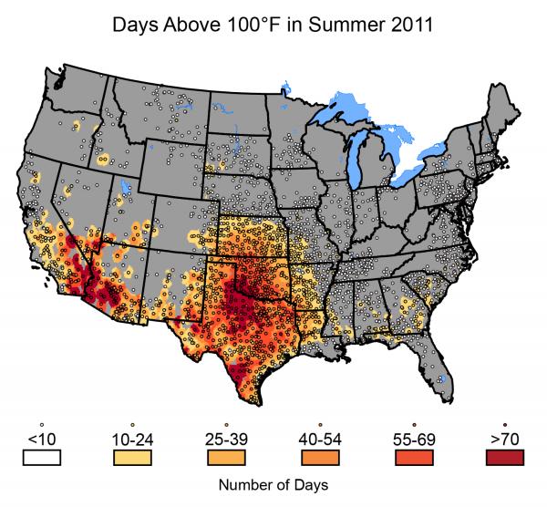 Days Above 100ºF in Summer 2011