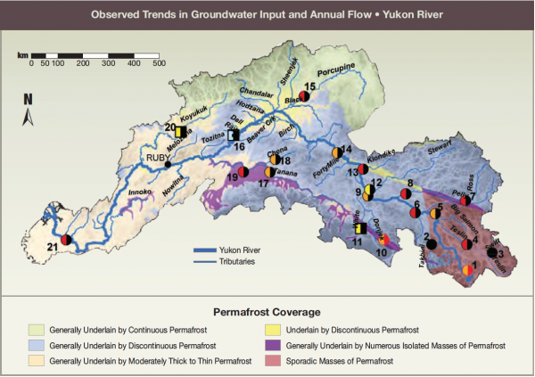 Observed Trends in Groundwater Input and Annual Flow - Yukon River