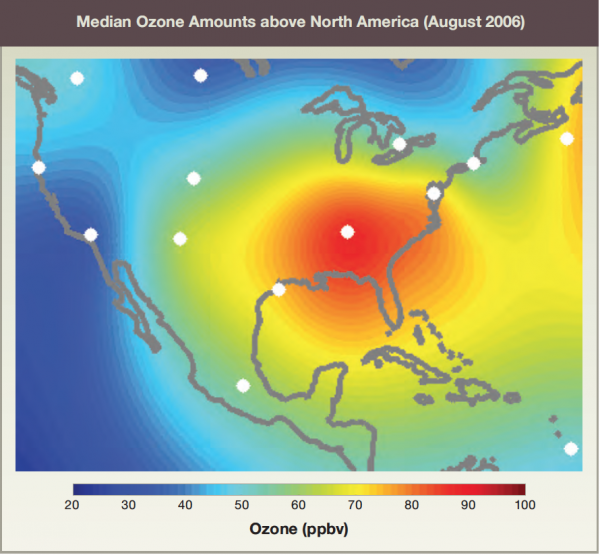 Median Ozone Amounts above North America (August 2006)