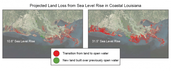 Projected Land Loss from Sea Level Rise in Coastal Louisiana