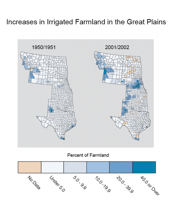 Increases in Irrigated Farmland in the Great Plains