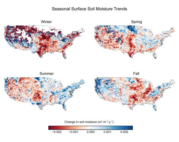 Seasonal Surface Soil Moisture Trends