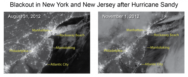 Blackout in New York and New Jersey after Hurricane Sandy