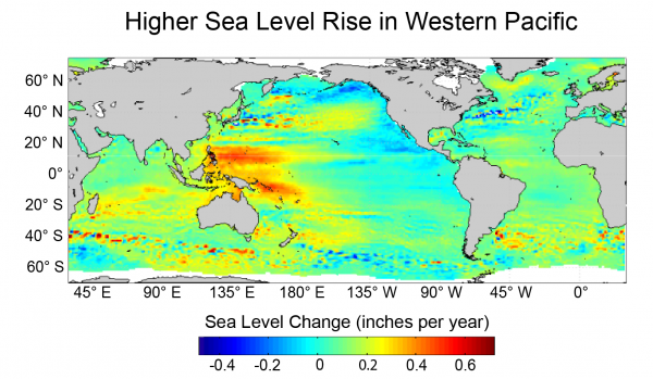 Higher Sea Level Rise in Western Pacific