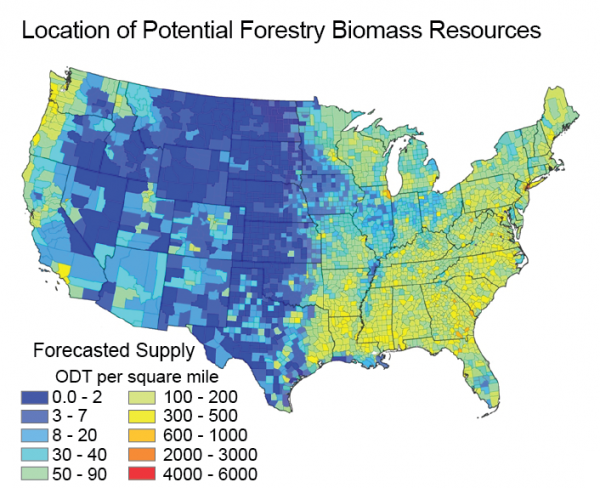 Location of Potential Forestry Biomass Resources