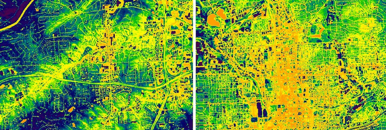 NASA Landsat thermal image of suburban (left) and urban (right) Atlanta. Heat concentrates in urban areas, posing health risks.